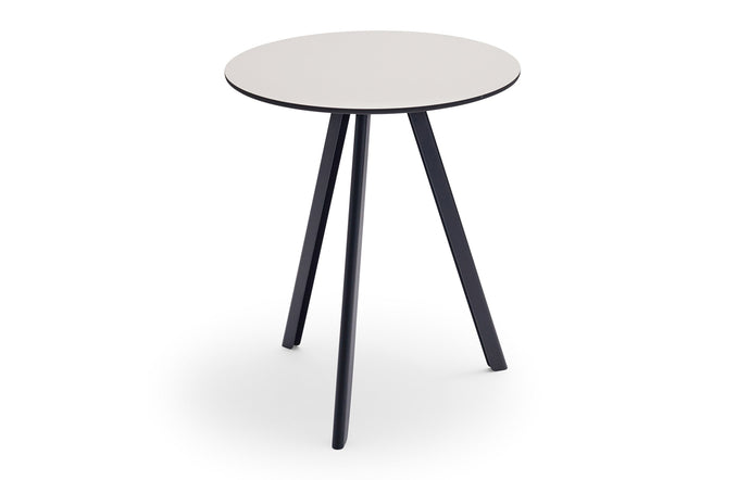 Overlap Round Table by Skagerak - 24 Inch Round/Silver Grey Top + Anthracite Black Base.