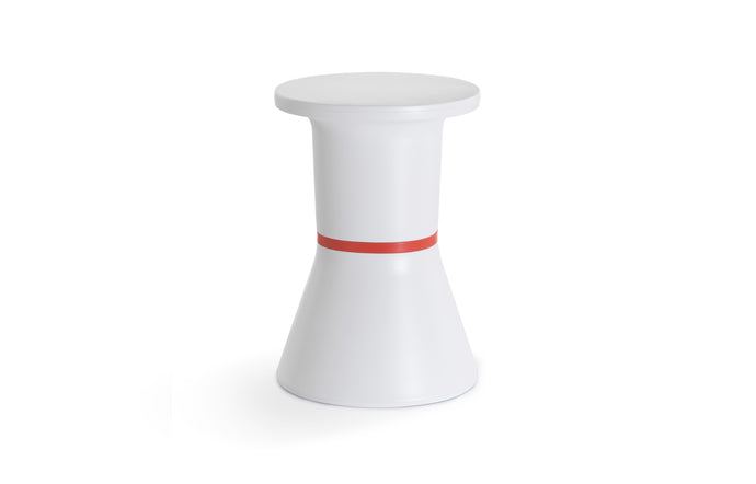 PA Side Table Stool - White Base, Red Ring.