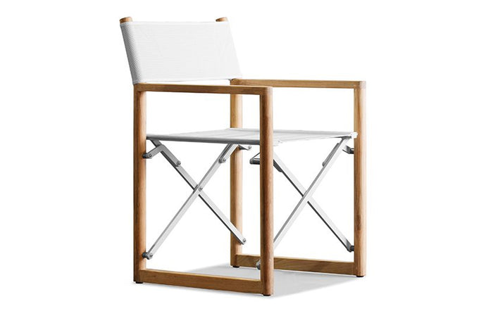 Pacific Folding Chair by Harbour - Natural Teak Wood + Batyline White.