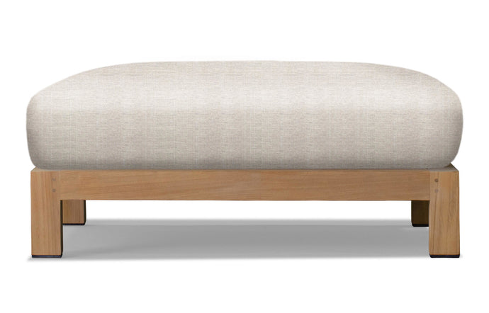 Pacific Ottoman by Harbour - Natural Teak Wood + Batyline White/Sunbrella Cast Silver.