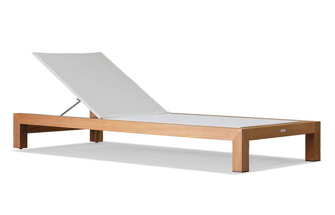 Pacific Sunlounge by Harbour - Batyline White/Natural Teak.
