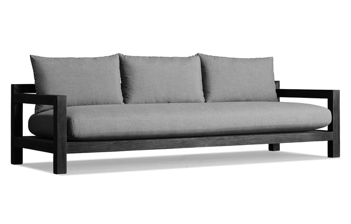 Pacific Three Seat Two Arm Sofa by Harbour - Burnt Charcoal Teak Wood + Batyline Black/Sunbrella Cast Slate.