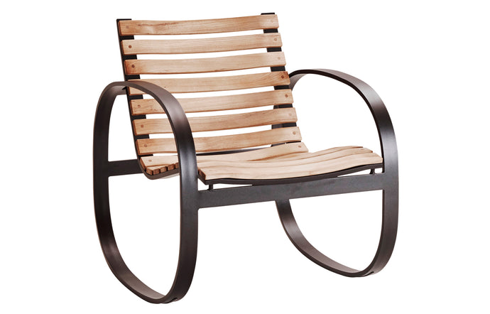 Parc Rocking Chair by Cane-Line - Teak/Lava Grey Powder Coated Aluminum.