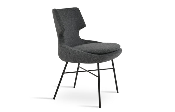 Patara Cross Dining Chair by SohoConcept - Camira Blazer Dark Grey Wool.