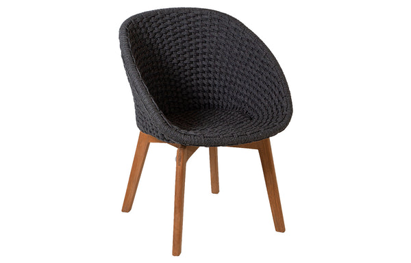 Peacock Dining Chair with Teak Legs by Cane-Line - Dark Grey Soft Rope, No Cushion.