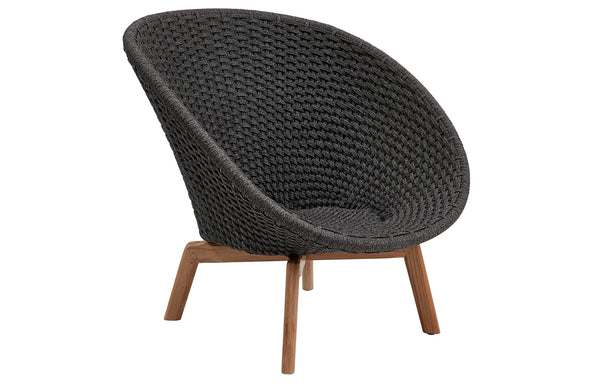 Peacock Rope Lounge Chair with Teak Legs by Cane-Line - Dark Grey Soft Rope, No Cushion Set.