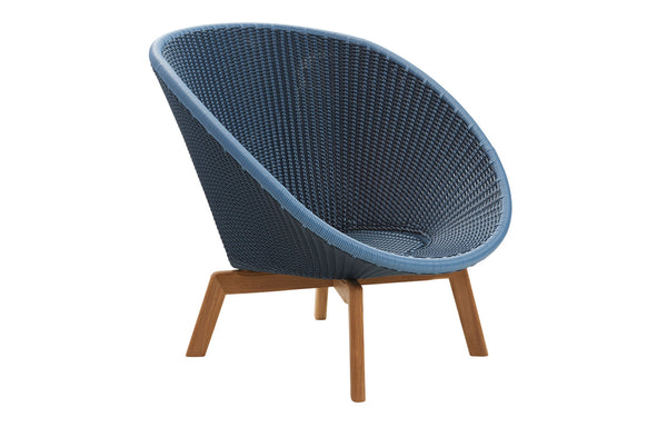 Peacock Weave Outdoor Lounge Chair with Teak Legs by Cane-Line - Midnight/Dusty Blue Weave, No Cushion Set.