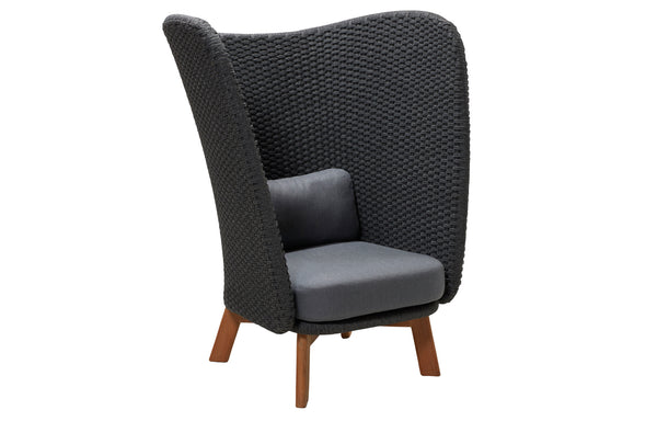 Peacock Wing Highback Chair with Teak Legs by Cane-Line - Teak/Dark Grey Soft Rope.