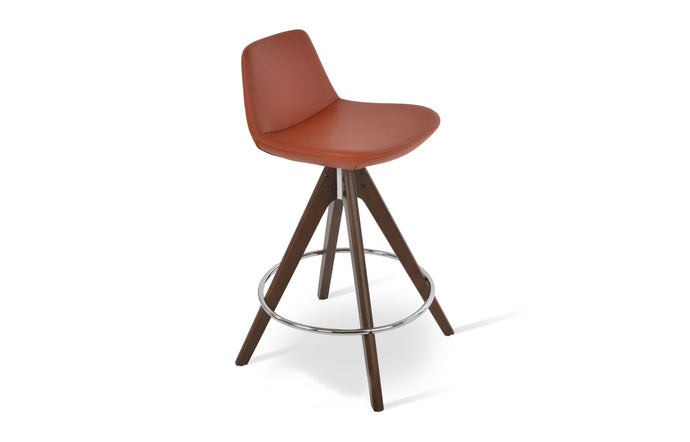 Pera Pyramid Swivel Bar Stool - Original Walnut Wood, Brick PPM-S