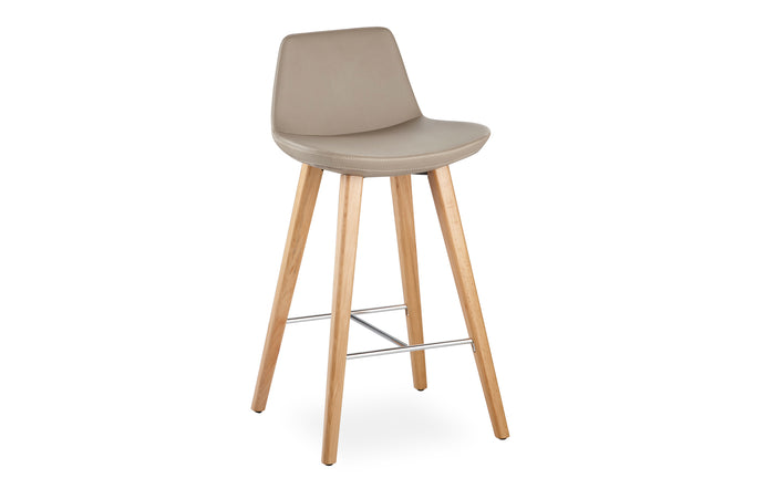 Pera Wood Stool by B&T - Taupe Eco Leather/Natural Ash Wood.