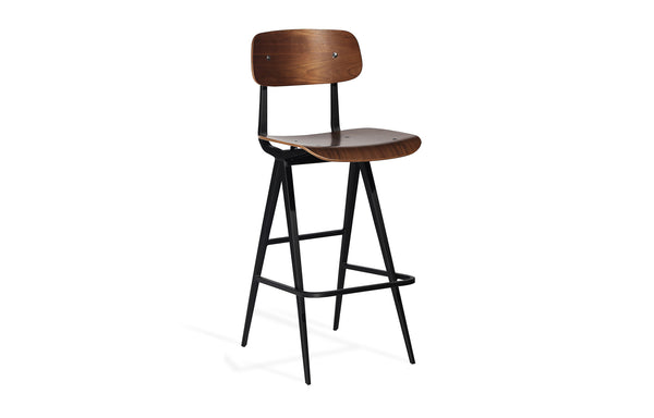 Perla Bar Stool by SohoConcept - Plywood Walnut Veneer Seat, Matte Black Frame.