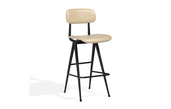 Perla Soft Seat Bar Stool by SohoConcept - Wheat PPM-S Seat+Back, Matte Black Frame.