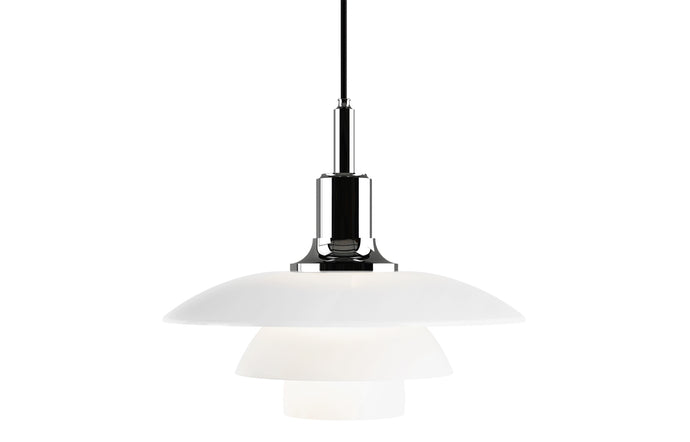 PH 3½-3 Indoor Glass Pendant Light by Louis Poulsen - High Lustre Chrome Plated.
