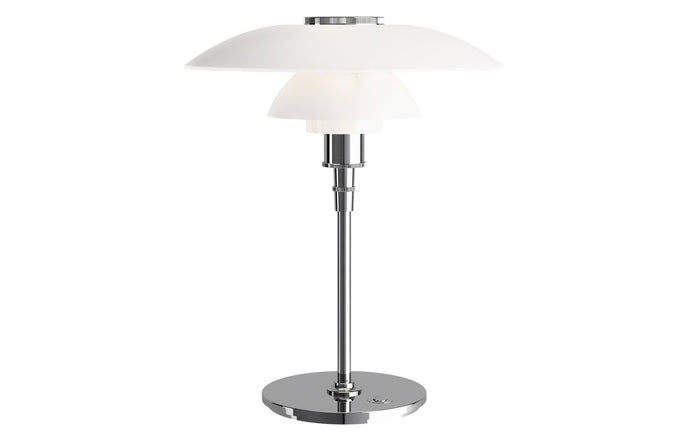 PH 4½-3½ Indoor Glass Table Lamp by by Louis Poulsen - High Lustre Chrome Plated/White Opal Glass.