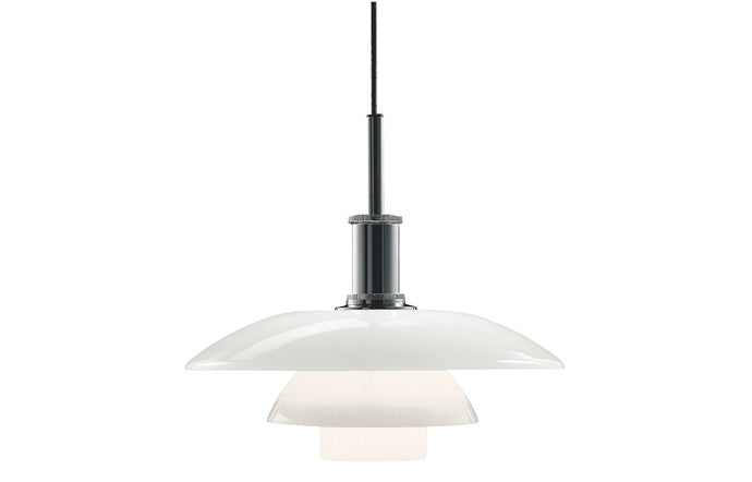 PH 4½-4 Indoor Glass Pendant Light by Louis Poulsen - High Lustre Chrome Plated/White Opal Glass.