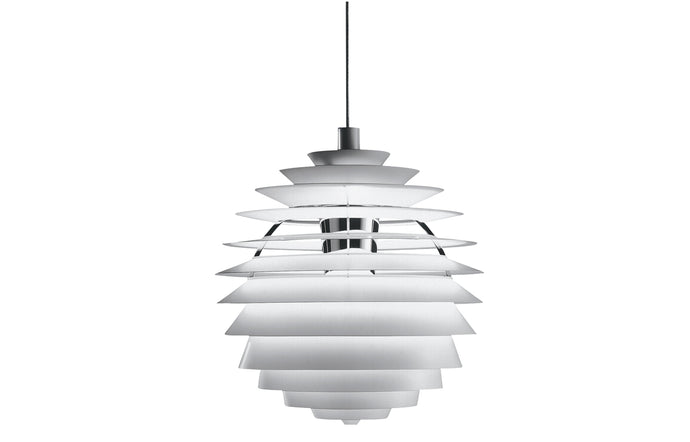 PH Louvre Indoor Pendant Light by by Louis Poulsen - White Wet Painted Aluminum/Chrome Plated.