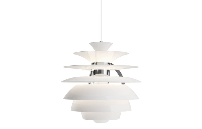 PH Snowball Indoor Pendant Light by by Louis Poulsen - White Wet Painted Aluminum/Chrome Plated.