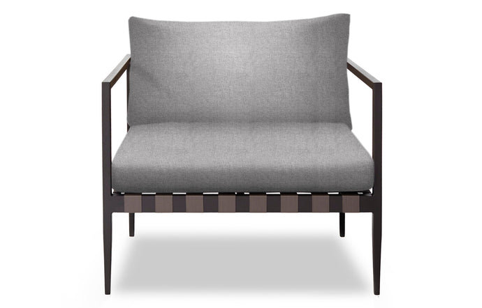 Pier Arm Chair by Harbour - Asteroid Aluminum + Taupe Woven Strap/Sunbrella Cast Slate.