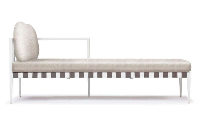 Pier Chaise Sectional by Harbour - Left Arm Facing Chaise Right, White Aluminum + Taupe Woven Strap, Sunbrella Cast Silver.