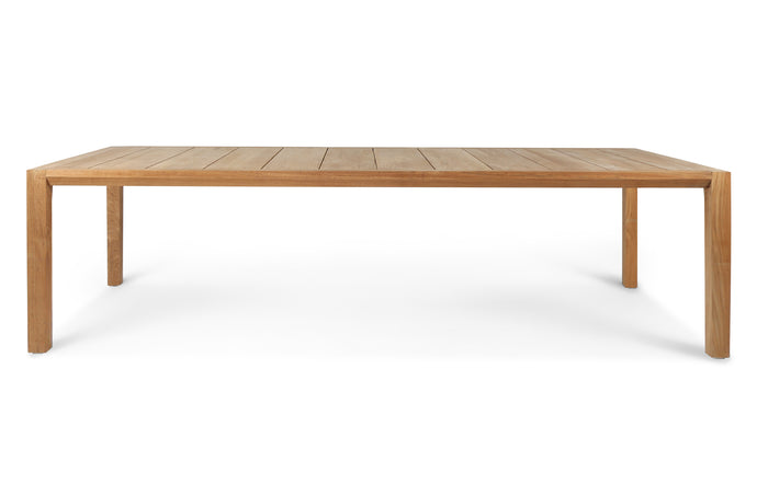 Pier Teak Dining Table Straight Leg by Harbour - Natural Teak Wood.