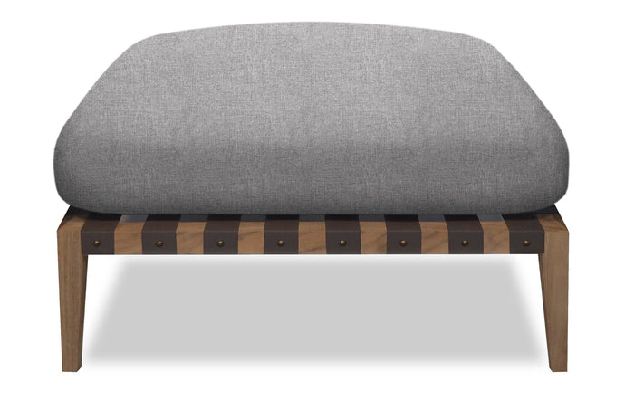 Pier Teak Ottoman by Harbour - Burnt Charcoal Teak Wood + Taupe Woven Strap/Sunbrella Cast Slate.