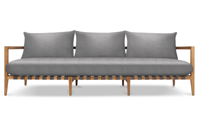 Pier Teak Three Seater Sofa by Harbour - Burnt Charcoal Teak Wood + Taupe Woven Strap/Sunbrella Cast Slate.