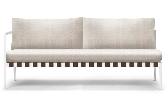 Pier Two Seater One Arm Sofa by Harbour - Left Arm Facing, White Aluminum + Taupe Woven Strap, Sunbrella Cast Silver.