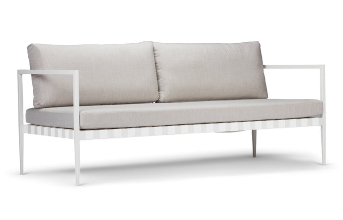 Pier Two Seater Two Arm Sofa by Harbour - White Woven Strap/Powder Coated Aluminum White.