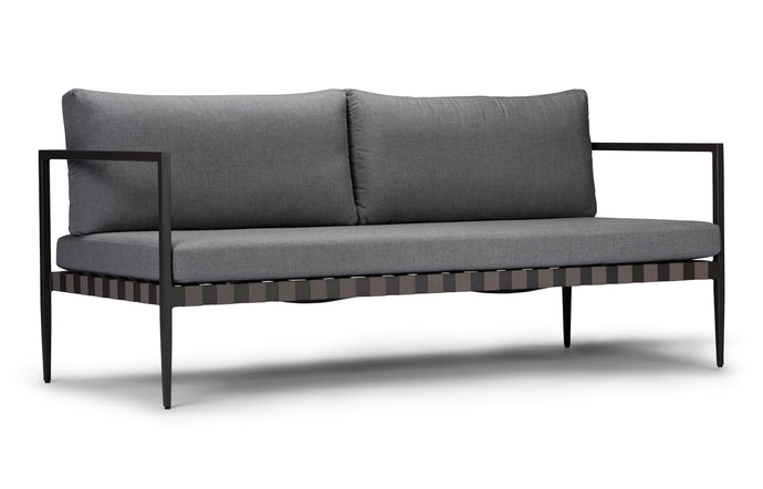 Pier Two Seater Two Arm Sofa by Harbour - Asteroid Aluminum + Taupe Woven Strap/Sunbrella Cast Slate.