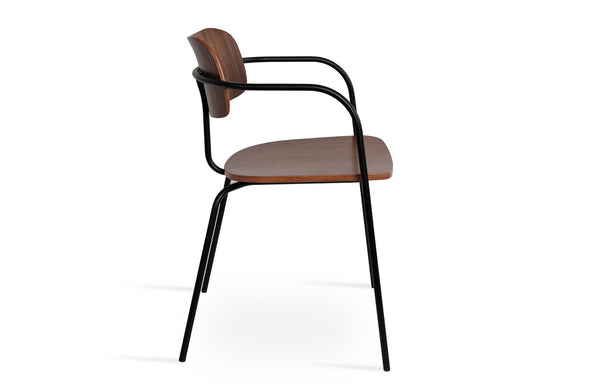 Academy Arm Dining Chair by SohoConcept - Plywood Walnut Veneer Seat+Back+Matt Black Frame