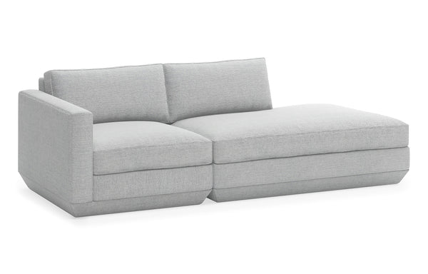 Podium Modular 2 PC Lounge Sofa by Gus Modern - Right Lounge, Bayview Silver Fabric.