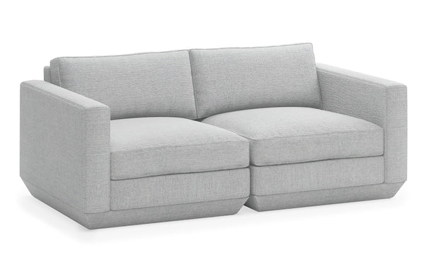 Podium Modular 2 PC Sofa by Gus Modern - Bayview Silver Fabric.