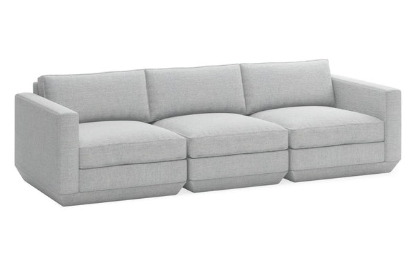 Podium Modular 3 PC Sofa by Gus Modern - Bayview Silver Fabric.