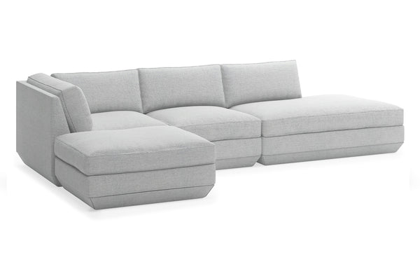 Podium Modular 4 PC Lounge Sectional B by Gus Modern - Left Facing, Bayview Silver Fabric.