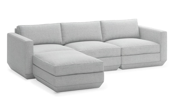 Podium Modular 4 PC Sectional by Gus Modern - Left Facing, Bayview Silver Fabric.