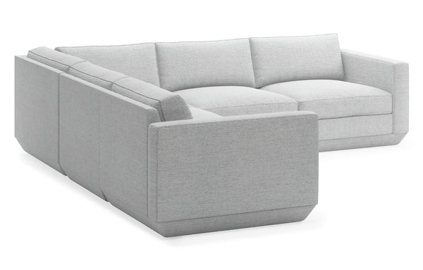 Podium Modular 5 PC Corner Sectional by Gus Modern - Bayview Silver Fabric.