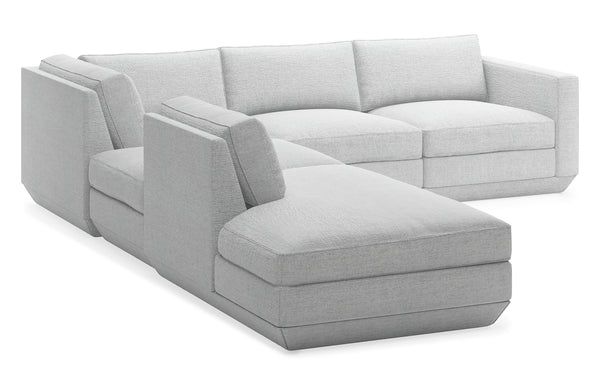 Podium Modular 5 PC Seating Group A by Gus Modern - Left Facing, Bayview Silver Fabric.
