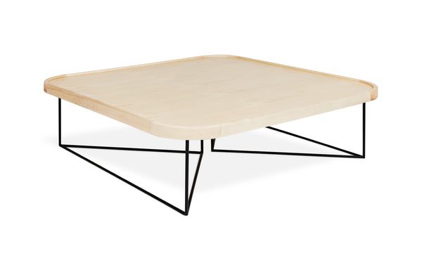Porter Coffee Table Square by Gus - Black Powdercoat/Blonde Ash.