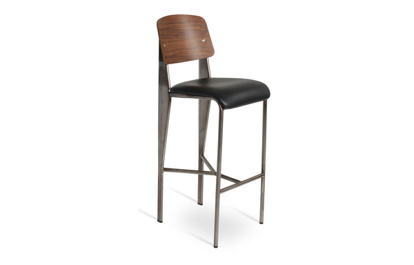 Prouve Sofa Seat Bar Stool by SohoConcept - Gunmetal Frame With PPM-S Black Seat-Walnut Veneer Back