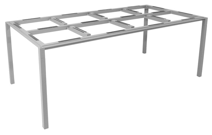 Pure Aluminum Rectangular Dining Table by Cane-Line - Light Grey Powder Coated Aluminum, No Top.