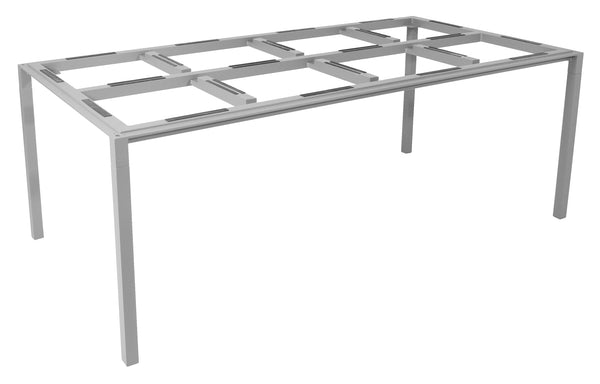 Pure Indoor Aluminum Rectangular Dining Table by Cane-Line - Light Grey Powder Coated Aluminum, No Top.