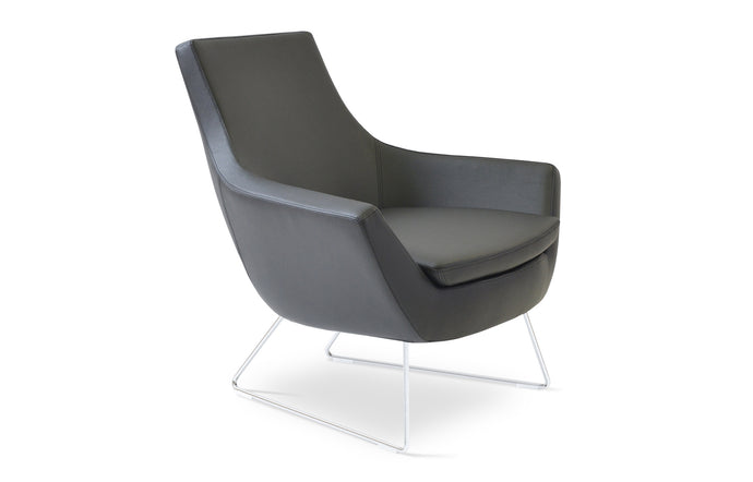 Rebecca Wire Sled Base Arm Chair by SohoConcept - Chrome Plated Steel, Black Leatherette