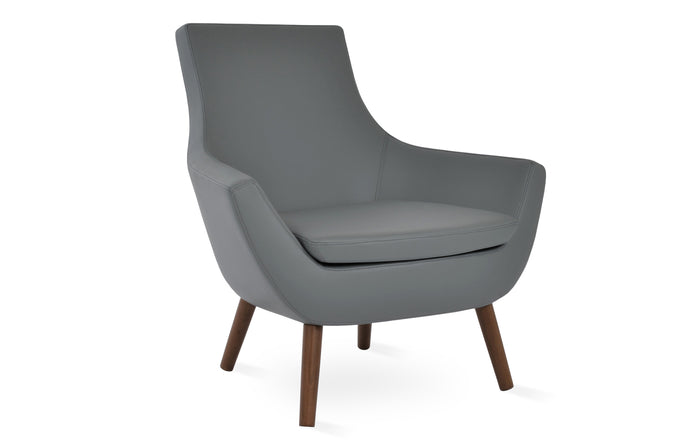 Rebecca Wood Arm Chair by SohoConcept - Solid Beech Wood Walnut, Grey Leatherette