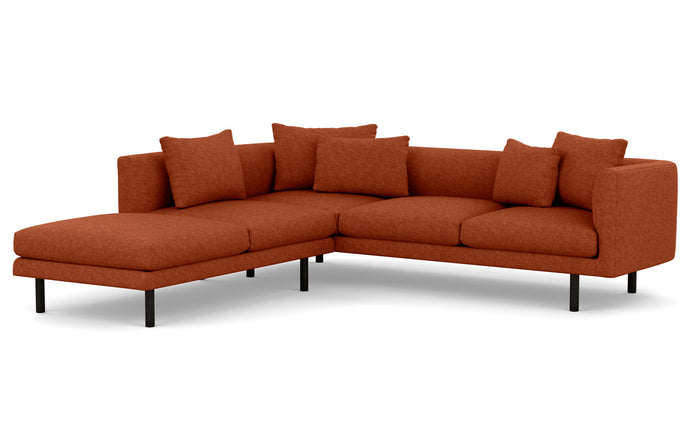Replay 2-Piece Sectional Fabric Sofa with Left Hand Facing Backless Chaise by EQ3 - Lana Rust Red Fabric, Black Ash Legs.