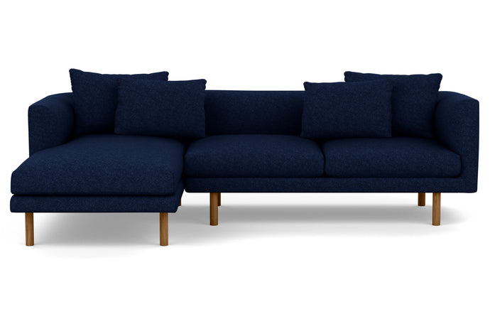 Replay 2-Piece Sectional Fabric Sofa with Left Hand Facing Chaise by EQ3 - Lana Dark Blue Fabric, Walnut Legs.