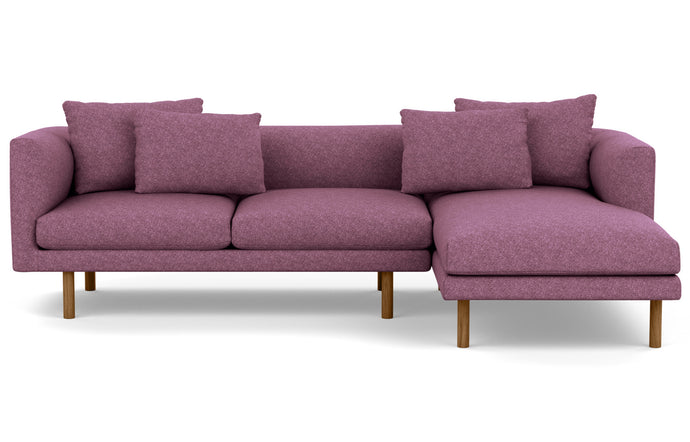 Replay 2-Piece Sectional Fabric Sofa with Right Hand Facing Chaise by EQ3 - Lana Light Purple Fabric, Walnut Legs.