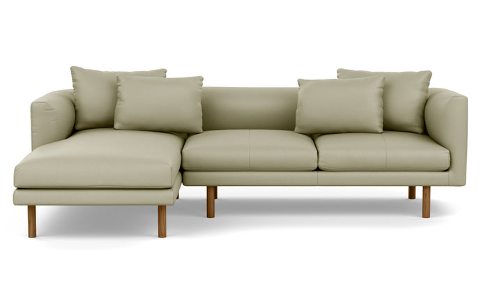 Replay 2-Piece Sectional Leather Sofa with Left Hand Facing Chaise by EQ3 - Fino Soft Green Leather, Walnut Legs.