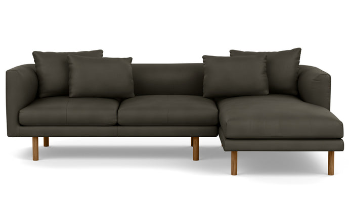 Replay 2-Piece Sectional Leather Sofa with Right Hand Facing Chaise by EQ3 - Fino Cool Grey Leather, Walnut Legs.