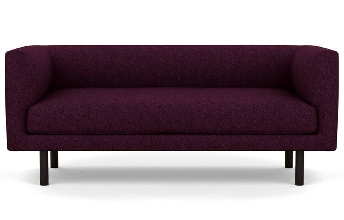 Replay Fabric Club Loveseat by EQ3 - Lana Dark Purple Fabric, Black Ash Legs.