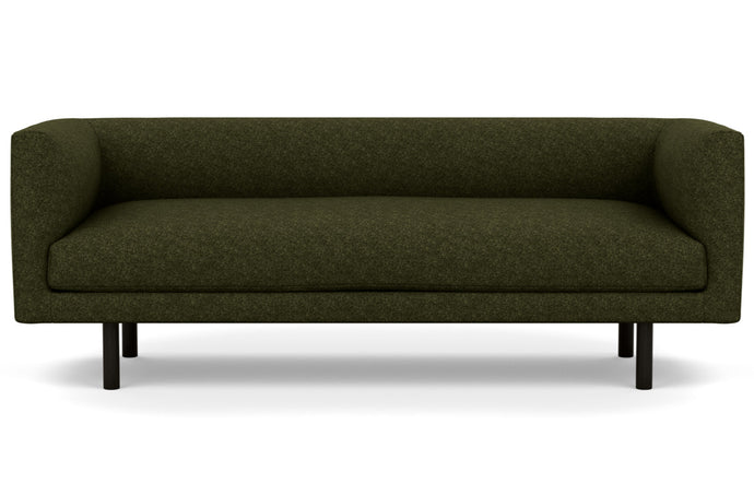 Replay Fabric Club Sofa by EQ3 - Lana Olive Green Fabric, Black Ash Legs.
